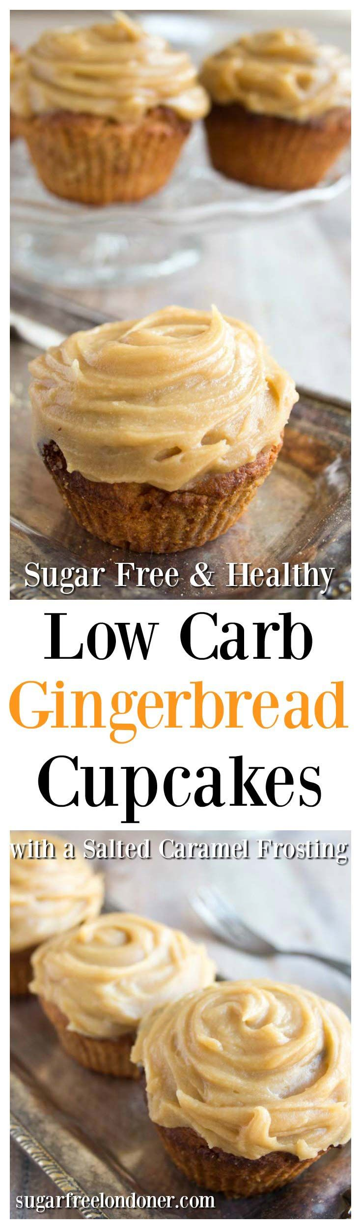 Low carb gingerbread cupcakes with a sugar-free salted caramel frosting - a finger-licking-good treat for everyone following a sugar free, gluten free and low carb diet. Suitable for diabetics.
