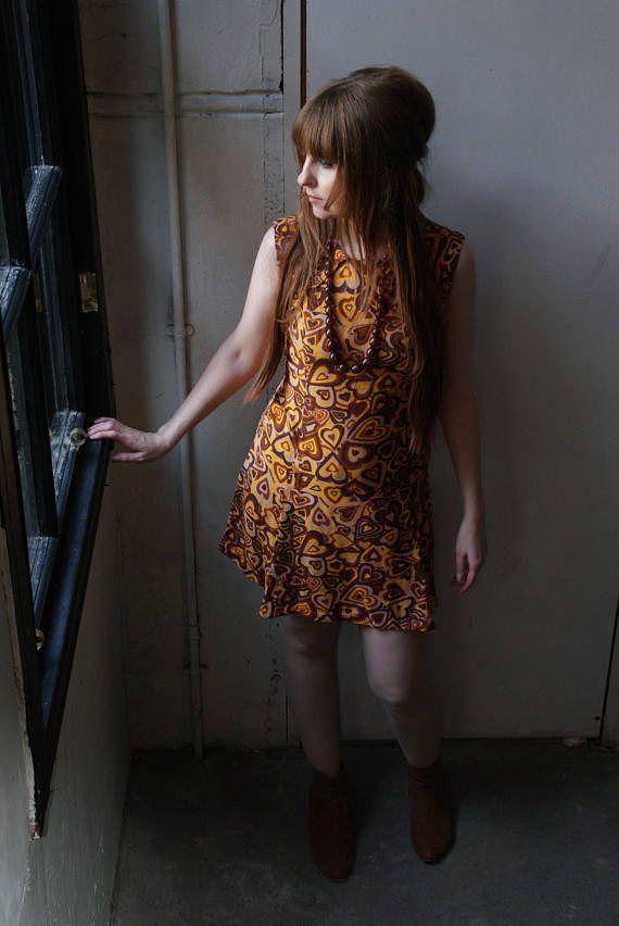Vintage 60's Orange Heart Print Mini Dress Mod