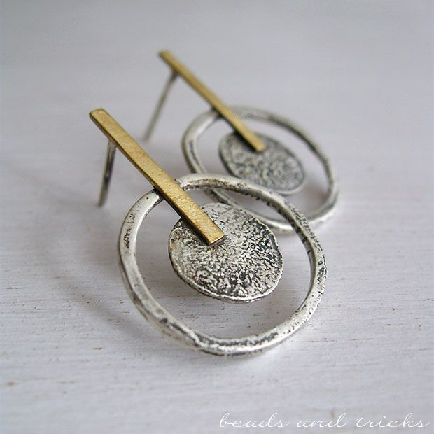 Red brass and fused sterling silver post earrings  | Handmade by Beads and Tricks