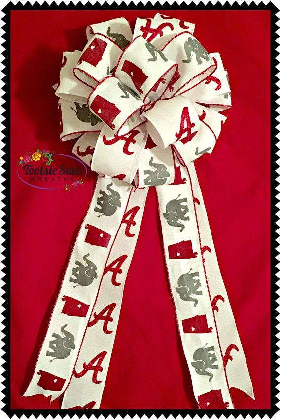 Alabama bow Roll Tide Alabama Game bow Red Black White Bow