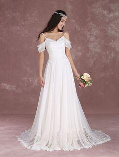 Vestido de noiva Bohemian de renda em linha-A decote V em coração com fita fina Cintura Natural Fecho Com Cauda com cintura cor de marfim  Milanoo