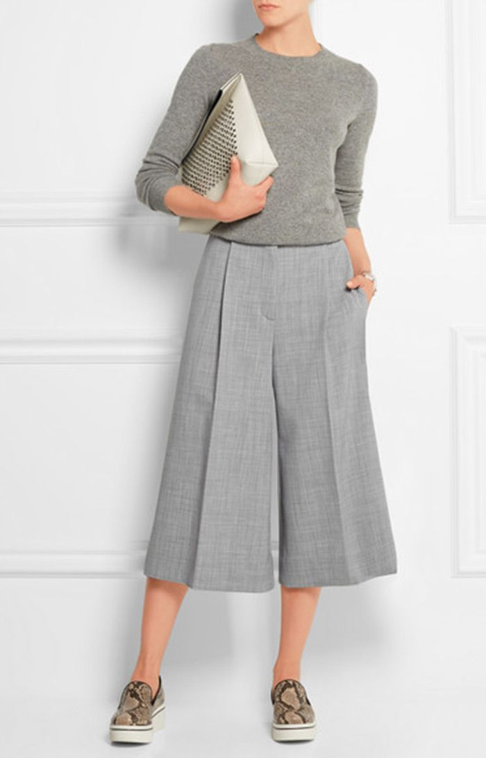 2 Perfect Wear to Work Outfits: Culottes and Midi Skirt by PeopleandStyles.com #…