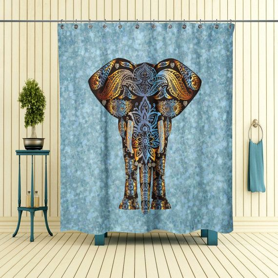 Douche gordijn olifant Boho Chic van FolkandFunky op Etsy