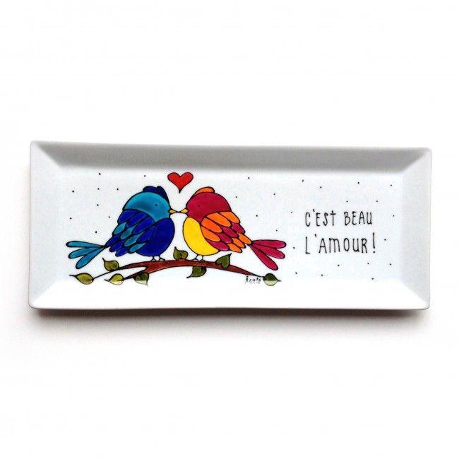 Assiette décorative en porcelaine avec 2 oiseaux • C'est beau l'amour / peint à la main par l'artiste peintre du Québec Isabelle Malo - cadeau amour et amitié - Handmade ceramic painting - decorative birds plate - friendship or lover gift