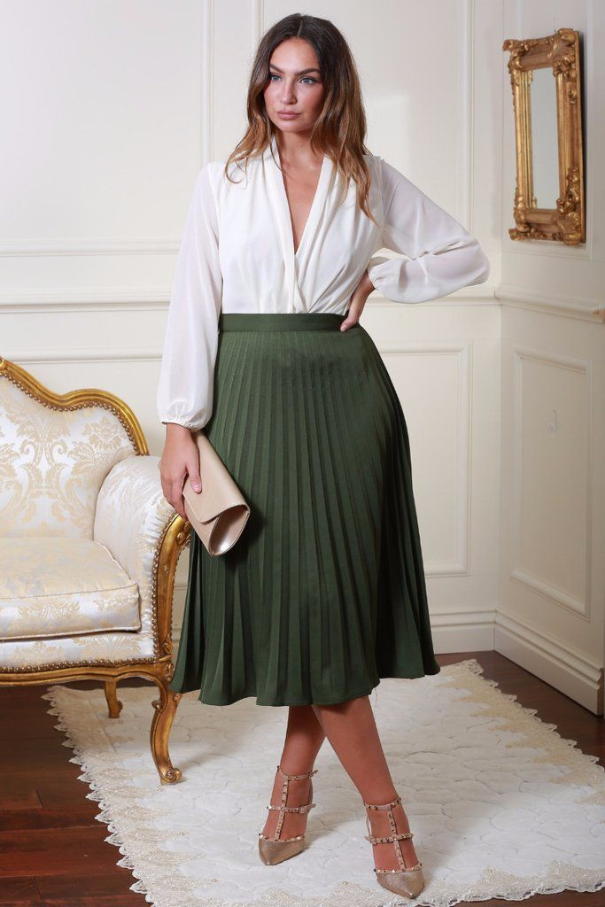 Green Pleated Midi Length Skirt