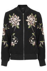 Floral Embroidered Bomber Jacket TopShop