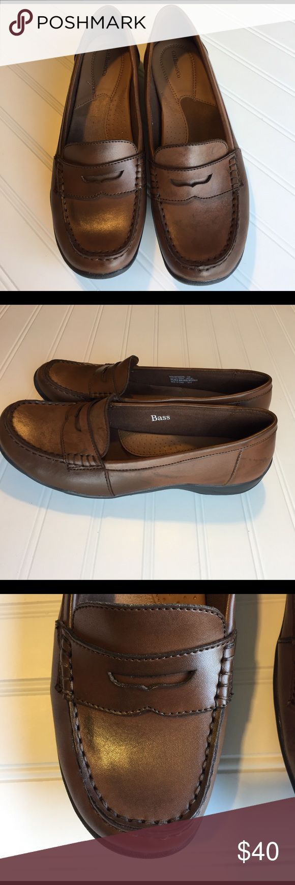 Bass Loafers Size 10 Bass Chestnut Brown Loafers.  Super Comfortable padded leather insole.  Gorgeous chestnut brown leather outer penny loafer style.  Worn once.  Like new condition.  A must have staple.  Can be worn with so many outfits.  Size 10 G.H. Bass Shoes Flats & Loafers