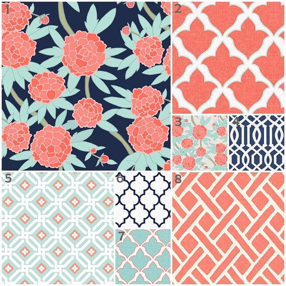 Peony Mint, Coral and Navy (Custom Crib Set) Baby Bedding, Crib Bedding, Trellis, Floral, Modern, Lattice