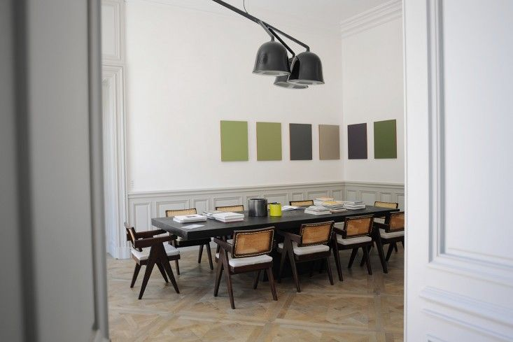 Dining Table with Green Artwork, 12 Favorite French Dining Rooms | Remodelista