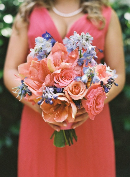 Coral and blue bouquet