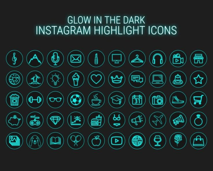 50 Neon Highlight Icons Blue Neon Instagram Story