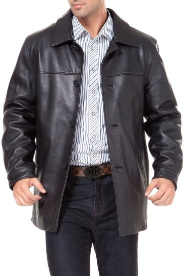 Black Leather Car Coat Mens