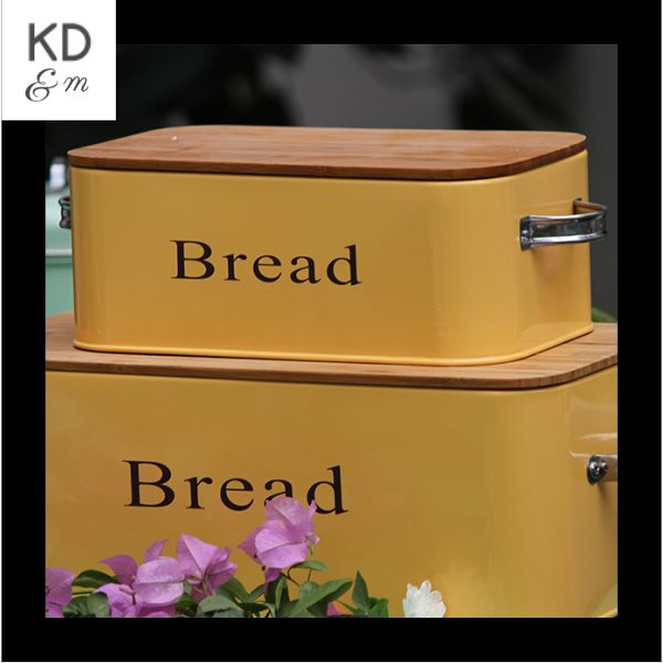 MUSTARD RECTANGLE SMALL BREAD BOX This sleek sturdy powder coated yellow Bread Bin is the perfect storage solution for bread, buns, baguettes and bagels alike! The lid has a comfortable handle to lift the wooden lid. Perfect for any kind of kitchen - Contemporary & Traditional. More stuff at www.kitchendining...#KDMORE#dinnerware#crockery#party#partyideas#diningroom