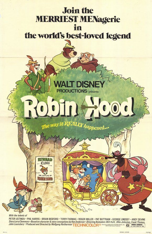 Robin Hood movie poster  Robin Hood, Little John, Friar Tuck, Skippy, Father Sexton and Little Sister, Prince John, Sir Hiss, & The Sheriff of Nottingham