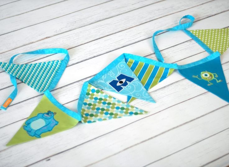 Pin by fresh squeezed baby on fabric flag bunting banners for Baby monster fabric