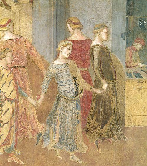 Ambrogio Lorenzetti - Danzatrici (Gli Effetti del Buono Governo in città) - affresco - 1338-1339 - Siena - Palazzo Pubblico, Sala dei Nove o Sala della Pace