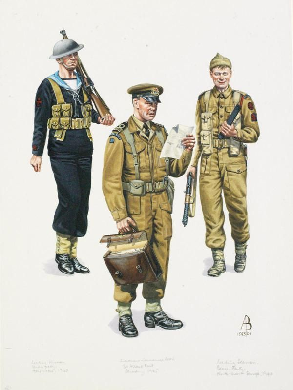 Royal Navy WW2: Leading Wire Man, Landing Party, Home Waters 1940; Lieutenant Colonel, RNVR, 30 Assault Unit, Germany 1945; Leading Seaman, Beach Party, RNR Naval Commando, NW Europe 1944 by Alix Baker