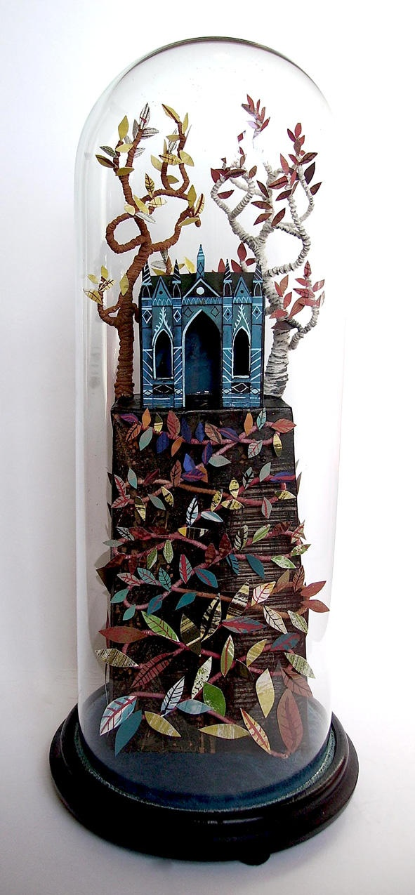 Cut paper sculpture inside a bell jar: Ed Kluz, The Gothic Temple