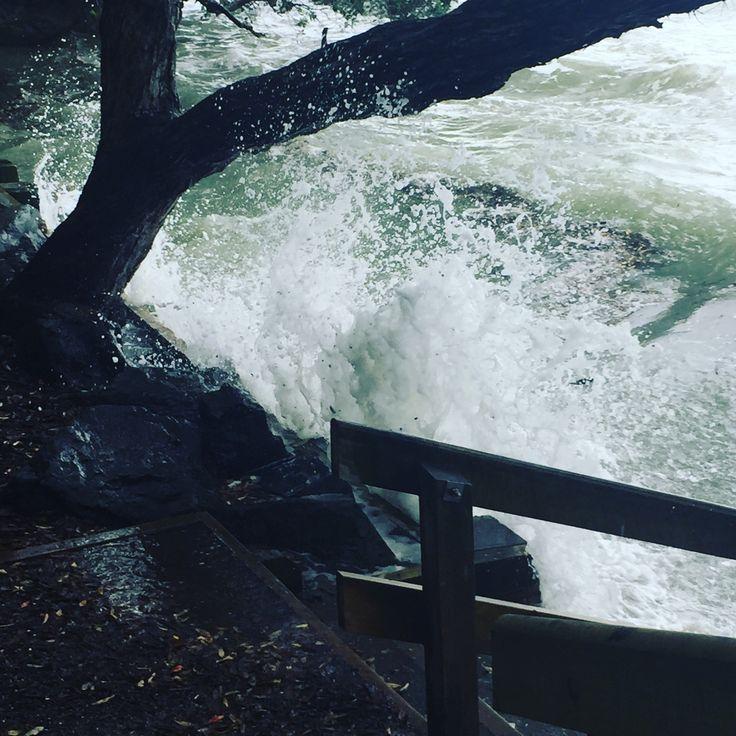 Waves splashing up on beach