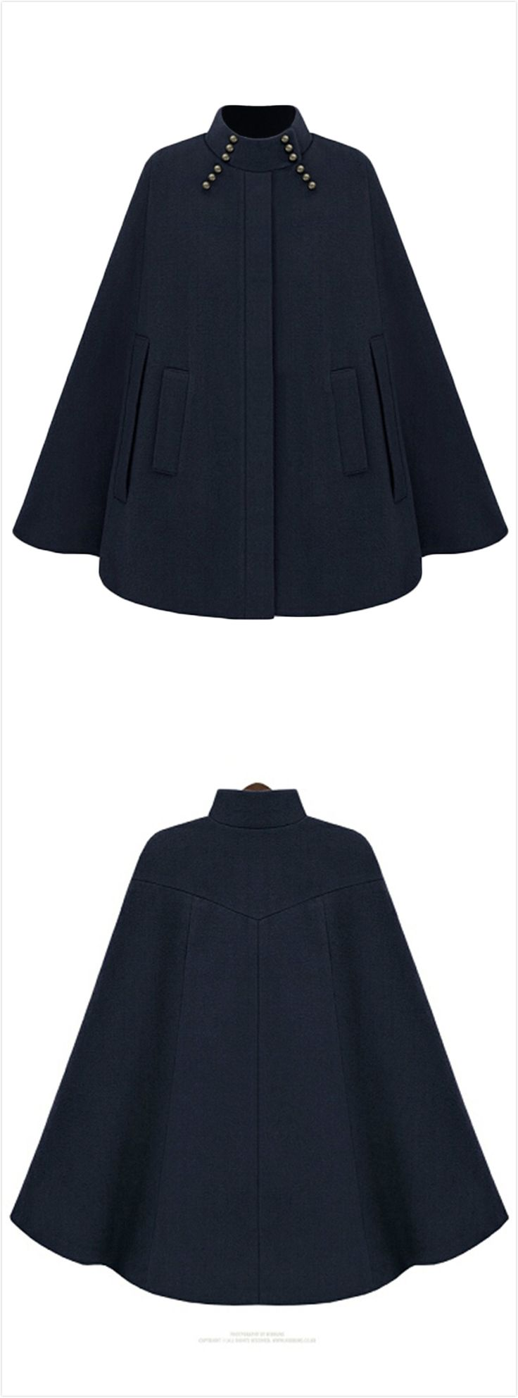 Women's Fashion Winter Warm Woolen Cape Cloak Coat