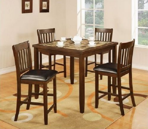 5Pc Dining Set Faux Marble Table Top Faux Leather High Chairs Dinning
