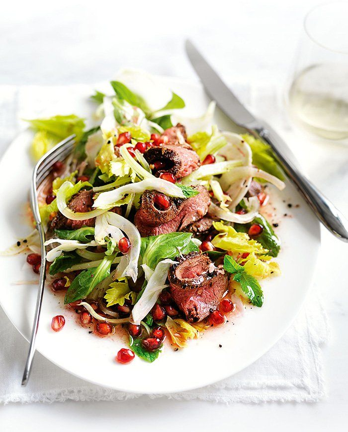 The sweet tartness of the pomegranate seeds, bursting with every mouthful, adds an exciting element to this venison and fennel salad. Fresh and delicious!