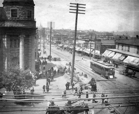 Here's the corner of Main and Hastings in the early 1900s. You can see part of the still-standing Carnegie Library
