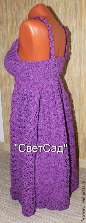 Платье - сарафан из 100% хлопка. Подойдет для повседневного наряда, а так же для вечеринки, коктейльного платья. Связанно крючкомю