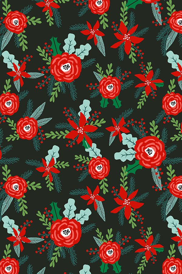 Colorful Fabrics Digitally Printed By Spoonflower Christmas Floral Florals Poinsettias Christmas Posy Red And Green Christmas Fabric Fir Tree Christmas Floral Christmas Wallpaper Pattern Wallpaper