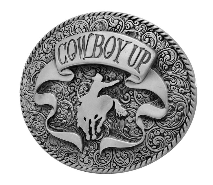 Mens Cowboy Up Rodeo Ornate Ribbon Belt Buckle Oval Silver