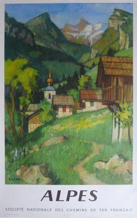 ALPES avec la SNCF - affiche originale par Capon (1956)