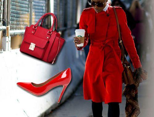 Trendy wiosna 2016: czerwone szpilki i płaszcz red coat outfit