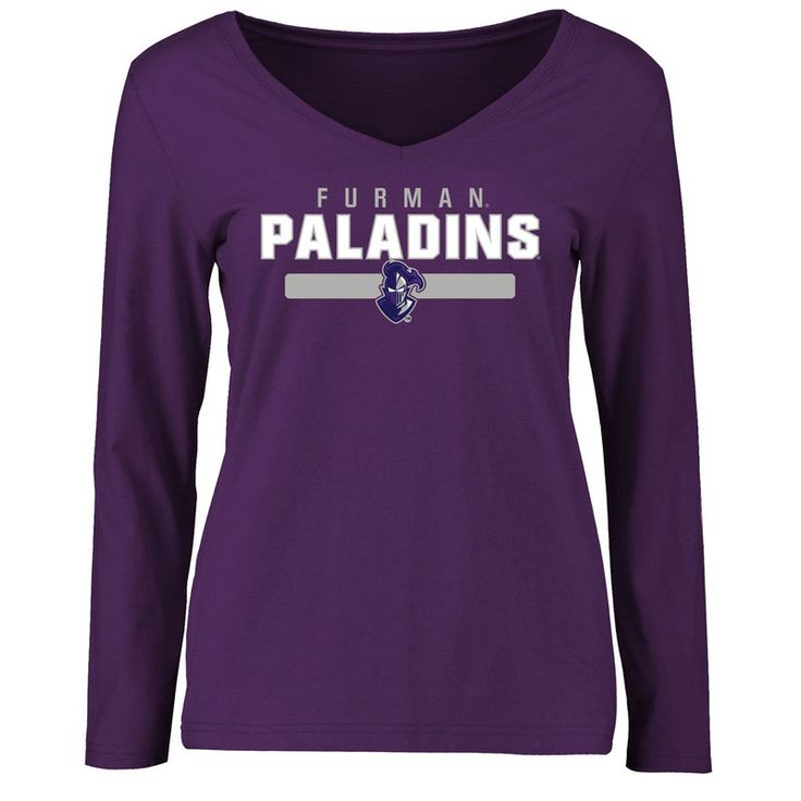 Furman Paladins Women's Team Strong Long Sleeve Slim Fit T-Shirt - Purple