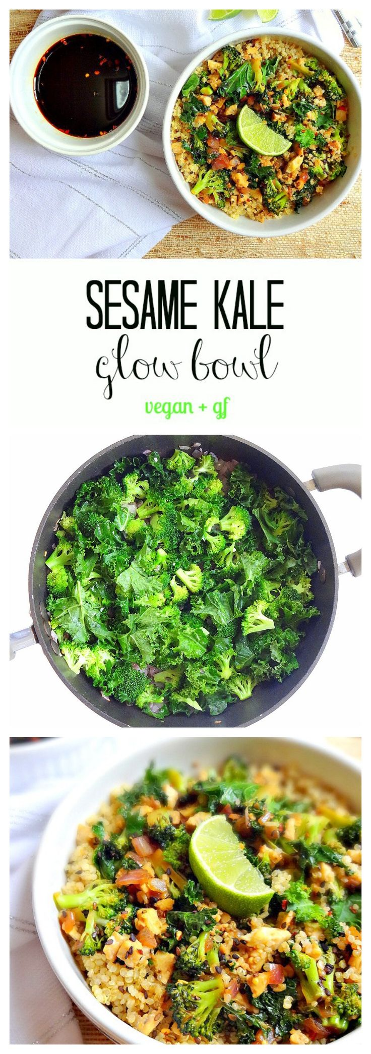 Sesame Kale Glow Bowl - vegan + gf - Simple, nourishing, flavorful and filling with high-quality plant protein from tempeh, kale, quinoa, broccoli, and sesame seeds. Plus a yummy soy ginger sauce, and it takes only 20 minutes to throw together! From The Glowing Fridge
