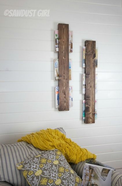 Awesome $5 wood Magazine rack tutorial. Super cheap and easy wood DIY project.]!