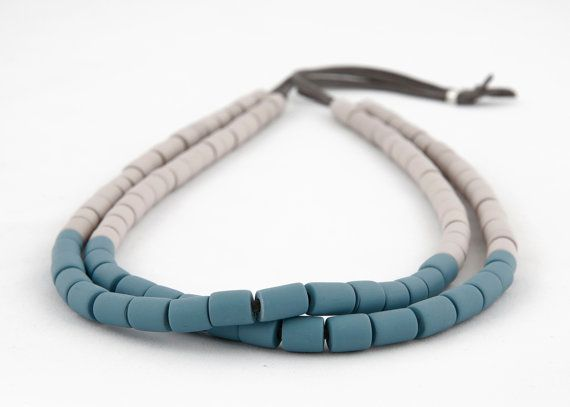 Polymer clay double strand tube necklace in stone and teal blue/green on Etsy, $55.00 AUD