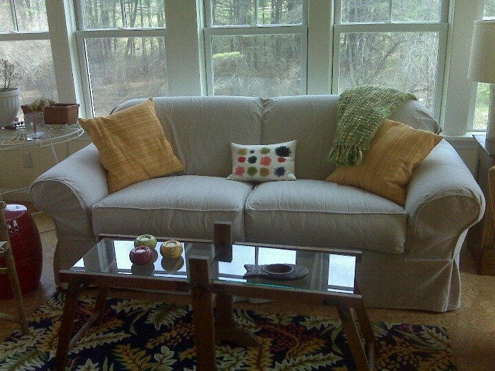 Sofa I slipcovered using painter's dropcloth  from home depot.