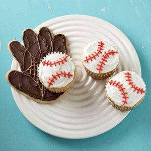 sugar cookie mitt and baseball cupcakes