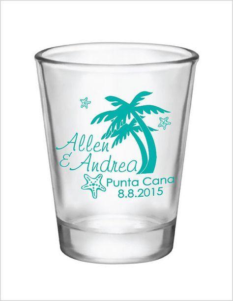 48 Personalized Destination Beach Wedding Favor 1.5oz Shot Glasses Custom Wedding Favors