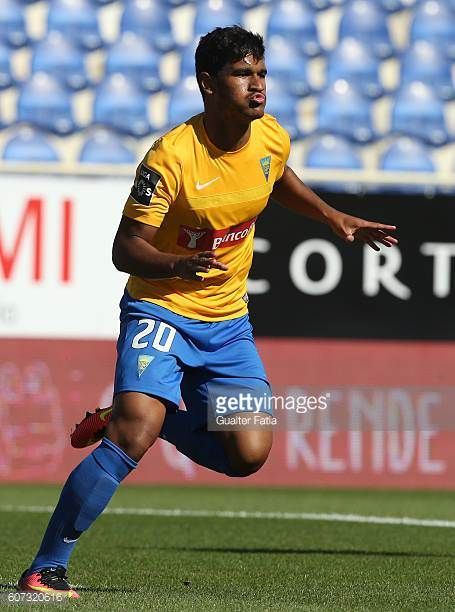 Estoril's midfielder Matheus Indio from Brazil celebrates after scoring a goal during the Primeira Liga match between GD Estoril Praia and Moreirense...