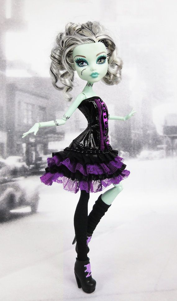 Monster High doll black and purple corset & by JonnaJonzon on Etsy