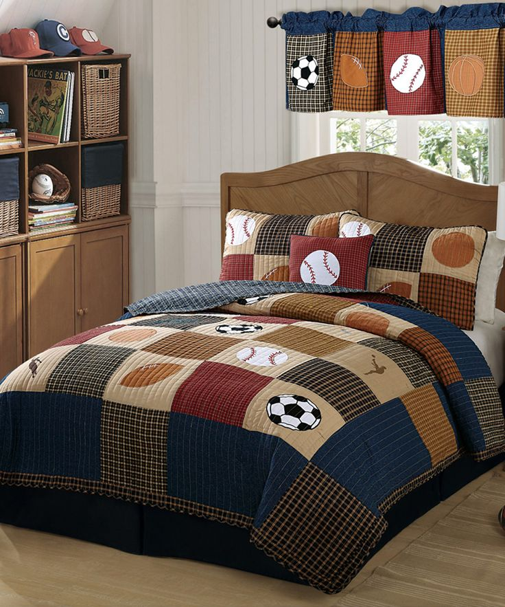 Blue & Brown Classic Sports Quilt Set