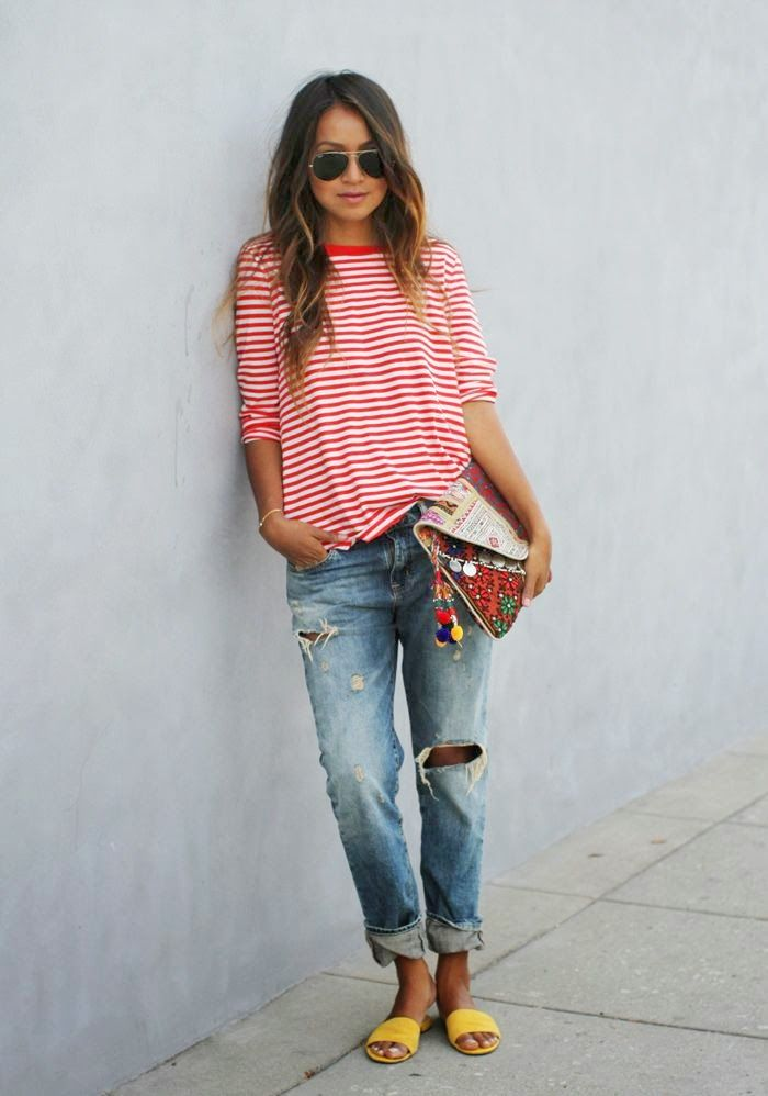I don't think you would go for the ripped jeans part but any light wash boyfriend jeans would work. I like the striped t-shirt a lot and think something like this would be cute on you and good when running around with the kids.