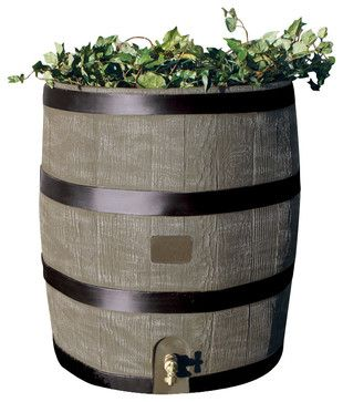 Round Rain Barrel With Planter, Deco Color - modern - Rain Barrels - BuilderDepot, Inc.
