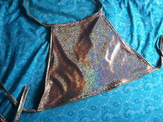 Gold Holographic Halter Crop Top - hologram iridescent alien EDC Las Vegas edm music festival rave wear