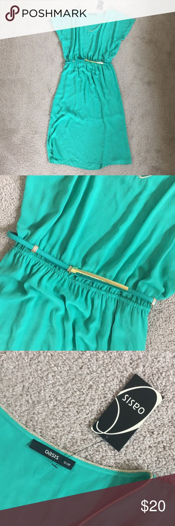 Brand new Green  flowy Dress with belt (20% 0ff for  3 or more bundle purchase) It is brand new with belt... fits small- medium in great condition, sheer flowy Dress great for summer get away or a night out dress. Oasis Dresses Midi