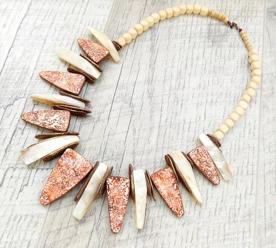Handmade Statement Necklace. Beige, Brown, White. Shell and Polymer Clay.
