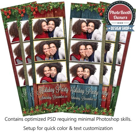 Rustic Holly Holiday Party 3-up Strips 1