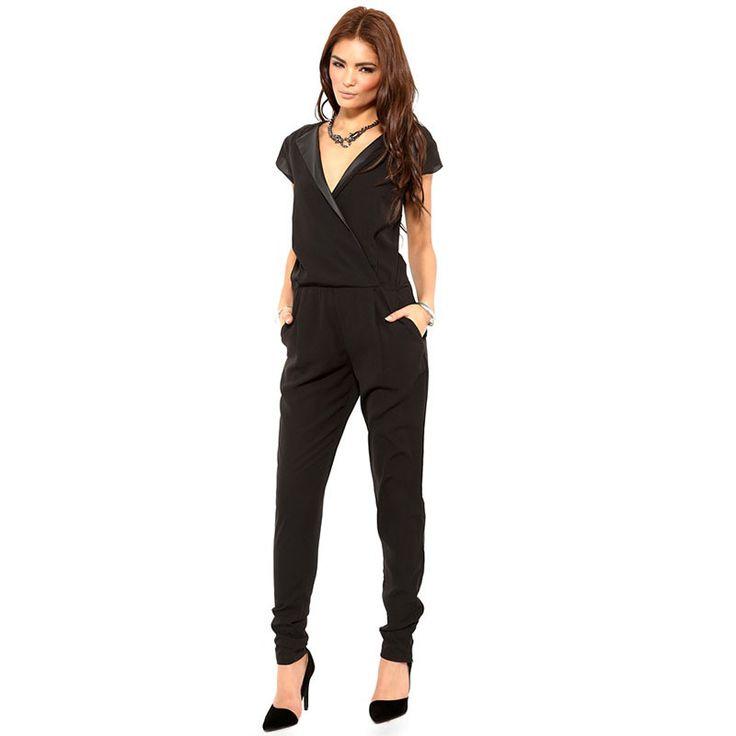 Dmart7deal PU Collar Black Overalls For Women Summer Plus Size Elegant New Rompers Womens Jumpsuit 2016 Long V-neck Macacao Feminino Female