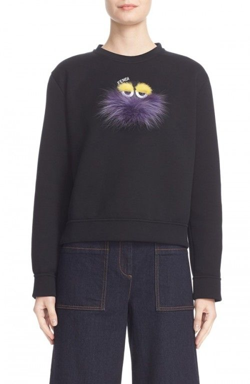 Fendi+Women's+Monster+Sweatshirt+with+Genuine+Mink+Fox+Fur+Trim+|+Activewear,+Pullovers,+Sweater+and+Clothing